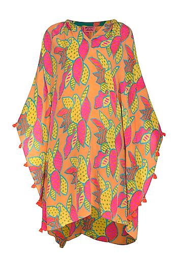 Orange Printed Tassel Dress by Anupamaa Dayal