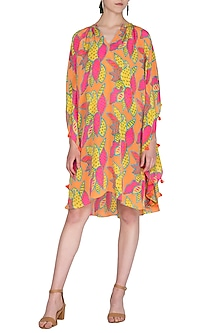 Orange Printed Tassel Dress by Anupamaa Dayal