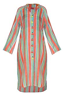 Peach Printed Shirt Dress by Anupamaa Dayal