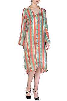 Peach Printed Shirt Dress by Anupamaa Dayal
