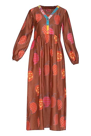Brown Printed Midi Dress by Anupamaa Dayal
