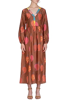 Brown Printed Midi Dress by Anupamaa Dayal