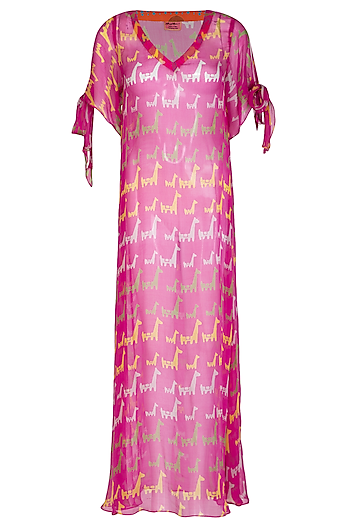 Pink Printed Maxi Dress by Anupamaa Dayal