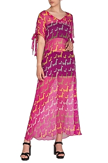 Pink Printed Maxi Dress by Anupamaa Dayal