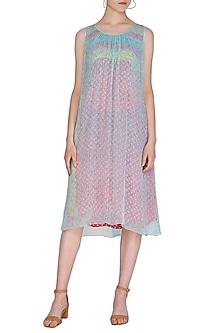 Aqua Blue Printed Sleeveless Dress by Anupamaa Dayal