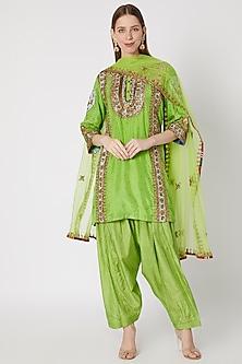 Green Printed & Embroidered Kurta Set by Anupamaa Dayal-READY TO SHIP
