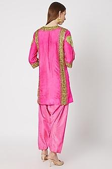 Fluro Pink Printed & Embroidered Kurta Set by Anupamaa Dayal