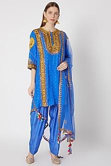 Electric Blue Printed & Embroidered Kurta Set by Anupamaa Dayal
