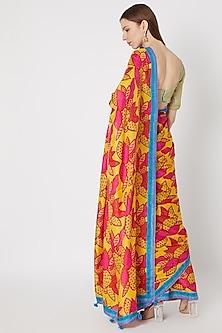 Yellow Printed Silk Saree Set by Anupamaa Dayal