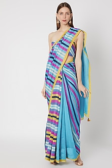 Purple Printed Saree Set by Anupamaa Dayal