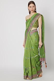 Green Printed Saree Set by Anupamaa Dayal