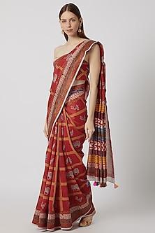 Red Printed Chanderi Saree Set by Anupamaa Dayal