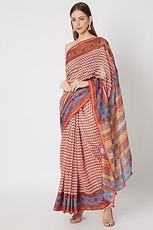 Red Printed Saree Set by Anupamaa Dayal