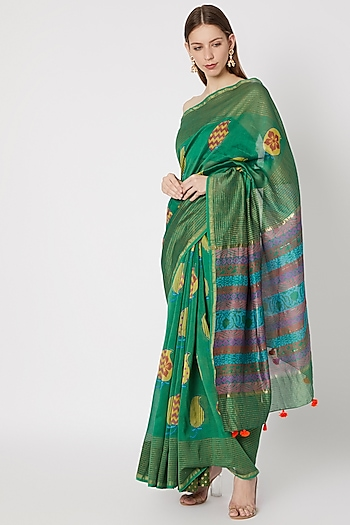 Dark Green Printed Saree Set by Anupamaa Dayal