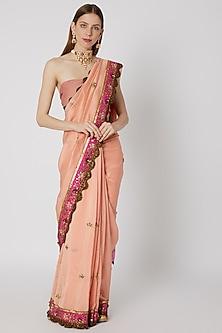 Peach Printed & Embroidered Saree Set by Anupamaa Dayal