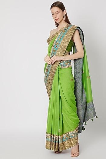 Green Embroidered & Printed Saree Set by Anupamaa Dayal