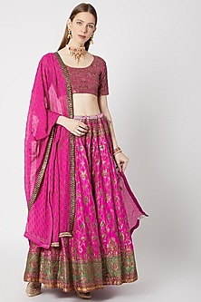 Pink Embroidered Lehenga Set by Anupamaa Dayal