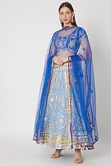 Sky Blue Embroidered Lehenga Set by Anupamaa Dayal