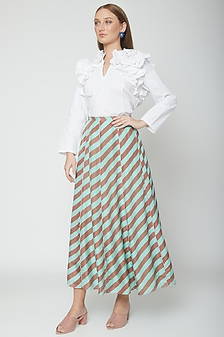 Mint Green & Chocolate Brown Printed Striped Skirt by Anupamaa Dayal