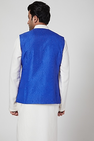Blue Silk Waistcoat by Aditya Dugar