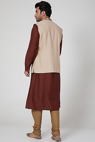 Brown Kurta Set With Embroidered Waistcoat by Aditya Dugar