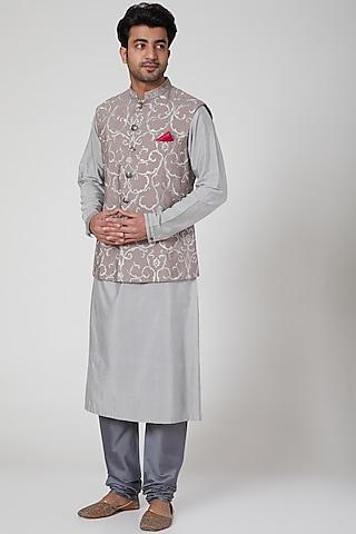 Grey Kurta Set With Embroidered Waistcoat by Aditya Dugar