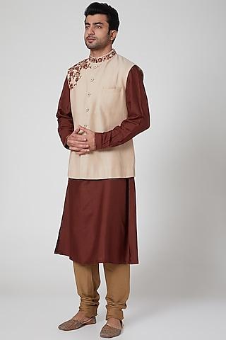 Beige Embroidered Waistcoat by Aditya Dugar