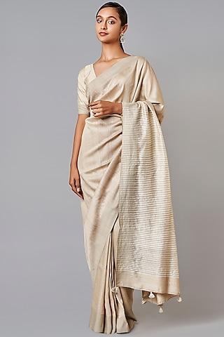 Cream Printed Silk Saree Set by Anita Dongre Grassroot