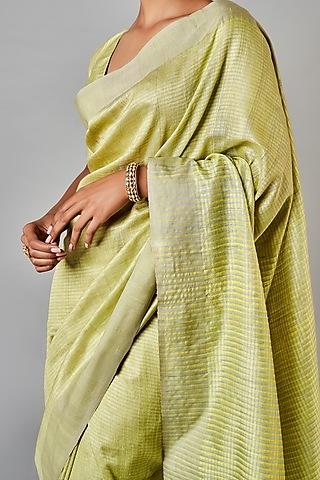Lime Green Printed Silk Saree Set by Anita Dongre Grassroot