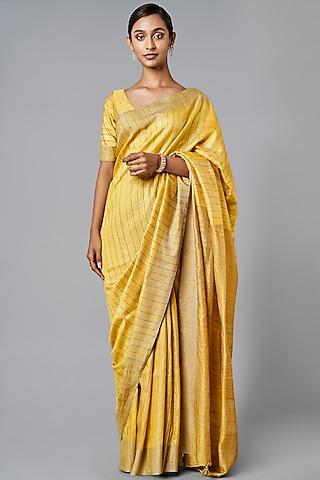 Mustard Stripes Printed Silk Saree Set by Anita Dongre Grassroot