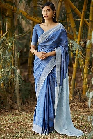 Blue Stripes Printed Silk Saree Set by Anita Dongre Grassroot