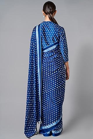 Indigo Blue Printed Saree Set by Anita Dongre Grassroot