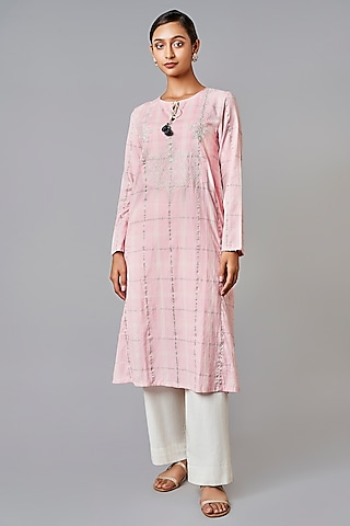 Blush Pink Embroidered Kurta by Anita Dongre Grassroot