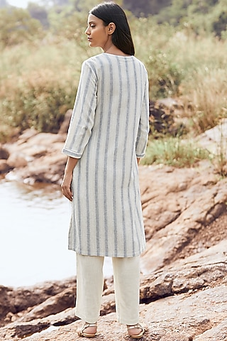 Ivory Striped Kurta by Anita Dongre Grassroot