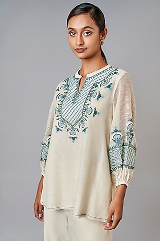 White Embroidered Top by Anita Dongre Grassroot