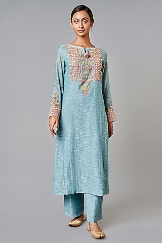 Powder Blue Embroidered Kurta Set by Anita Dongre Grassroot