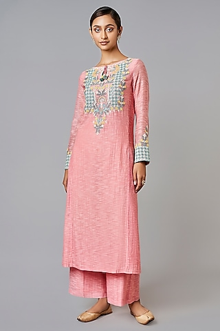 Pink Embroidered Kurta Set by Anita Dongre Grassroot