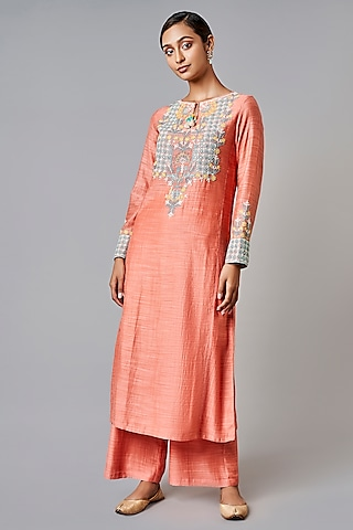 Coral Embroidered Kurta Set by Anita Dongre Grassroot