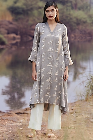 Grey Printed Tunic by Anita Dongre Grassroot