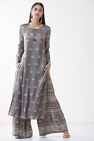 Grey Block Printed Kurta Set by Anita Dongre Grassroot