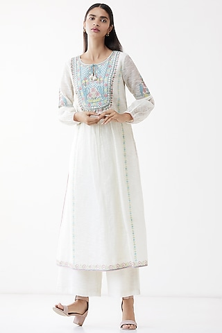 Natural White Embroidered Kurta by Anita Dongre Grassroot