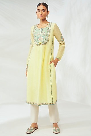 Yellow Hand Embroidered Kurta by Anita Dongre Grassroot