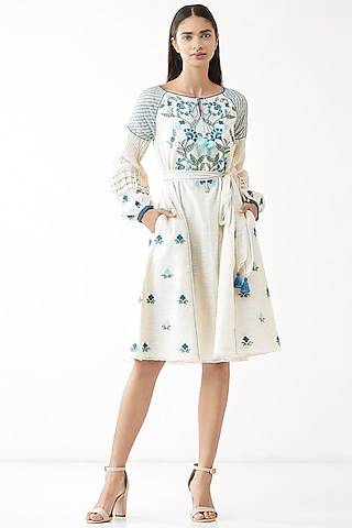 Natural White Embroidered Dress With Belt by Anita Dongre Grassroot