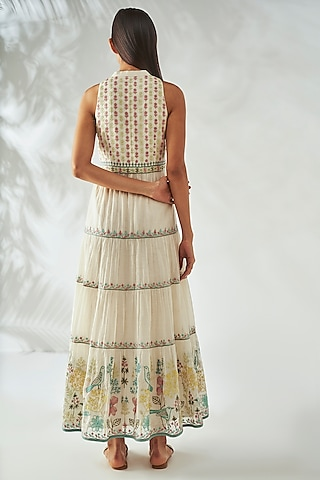 Natural White Embroidered Tiered Dress by Anita Dongre Grassroot