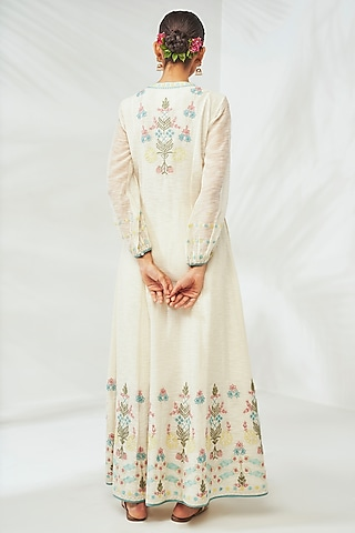 Natural White Embroidered Jacket Set by Anita Dongre Grassroot