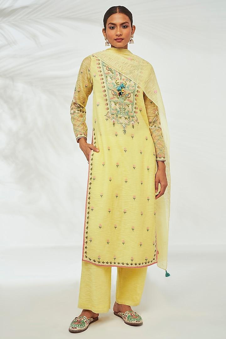 Yellow Embroidered Kurta Set by Anita Dongre Grassroot