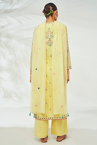 Yellow Embroidered Kurta Set by Anita Dongre Grassroot