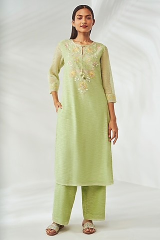 Lime Green Embroidered Kurta Set by Anita Dongre Grassroot