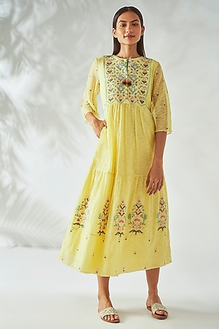 Yellow Hand Embroidered Dress by Anita Dongre Grassroot