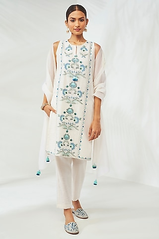Natural White Hand Emnroidered Kurta Set by Anita Dongre Grassroot